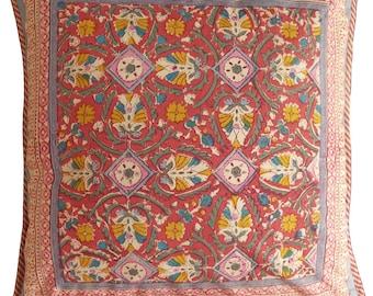 "Large Cotton Cushion Cover - Arabesque Rust 18"" x 18"""