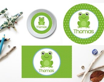Frog Plate/Bowl/Placemat . Personalized Plate/Bowl/Placemat . Boys Plate/Bowl/Placemat . Melamine Plate . Animal Plate/Bowl/Placemat