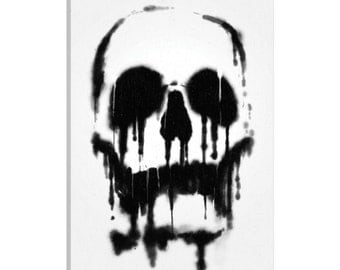 iCanvas Skull Gallery Wrapped Canvas Art Print by Nicebleed