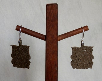 exlusive design ECO natural style earring 925 sterling silver and eco-olive wood hand made