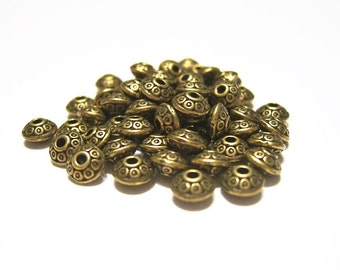 60 Antique Bronze,  UFO Shape, Decorative, Metal, Spacer Beads, 6.5 mm  X 4 mm
