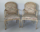 Hollywood Regency Italian carved chairs, Pair
