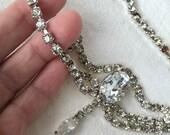 Vintage rhinestone belt blazing brilliant crystals festoons scallops sautoir body belt necklace