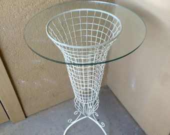 Wire plant stand planter vintage French iron table vase shaped tripod legs mid-century modern