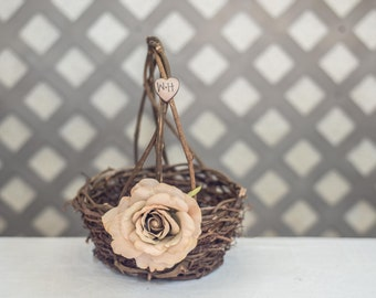 champagne Rose Twig round personalized wedding small rustic flower girl basket. Customize with flower and initials