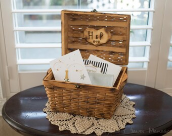 Willow Wedding chest box for bride and groom advise or gift cards with bride and groom engraved rustic heart