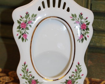 Small Porcelain Photo Frame - Floral Picture Frame