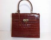 Vintage brown leather mock crocodile pattern kelly grab handbag bag by Marianelli with working lock and key