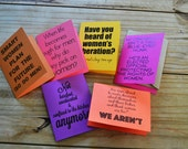 Womens Rights - Choice - Inspired Cards - Set of 6 - Assorted Bright Gender Neutral Color Card Stock - A2 Size with Kraft Envelope