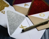 Personalized Glitter Initial Stationery Set of 10 with Lined Envelope  - You Pick Glitter and Envelope Color and Lining