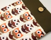 SALE - iPad Air case, iPad cover, iPad sleeve with 2 pockets, PADDED - Brown owls (210)