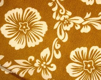 Vintage Japanese Xtra Long Chirimen Crepe Furoshiki Cloth Wrap - Mustard / Ocher / White Floral Hawaiian.