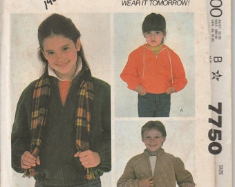1981 Sewing Pattern Simplicity 7750 child's hooded jacket size 6