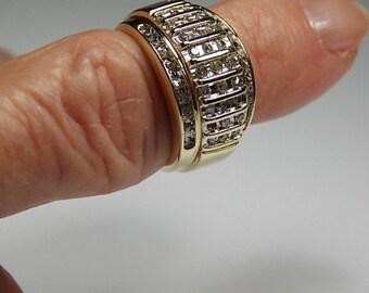 Diamond Band Ring 12mm wide .50Ctw Yellow Gold 7.6gm Size 5.5 Zales Wedding