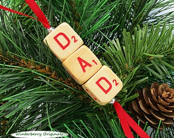 DAD Christmas Ornament - Scrabble RSVP Cube Ornament, Stocking Stuffer, Package Tie-On, Gift for Dad