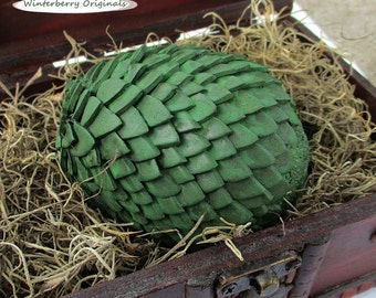 """Dragon Egg & Display Chest - 3-3/4"""" Antiqued Green Egg - Mythical Decor, Dragon Lover Gift, Goth, Geeky Gift, Mythical Creature"""