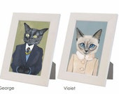 BUY 2 get 3rd one FREE White Framed Cats In Clothes