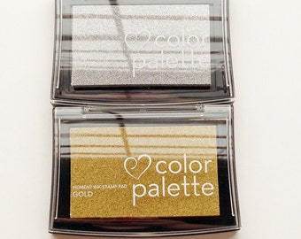 gold or silver color palette versacolor ink pad. tsukineko rubber stamp pad. oil based archival inks. wedding birthday scrapbooking crafts