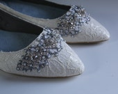 Downton Abbey Bridal Pointed Toe Ballet Flats Wedding Shoes - All Full Sizes - Pick your own crystal color