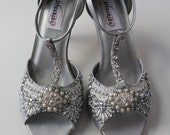 Gatsby Peep Toe Heel Wedding shoes - All full and half sizes, wide widths
