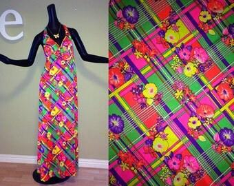 Vintage 60s 70s MOD Halter Maxi Dress 1960s 1970 Hippie Boho Neon Flower Power Plaid Psychedelic Festival Beach Swim Dress Swimwear Medium