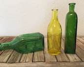 Vintage Set of Green and Yellow Bottles Cief Wanoo Electric Tonic