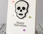 Halloween Glitter Skull Card