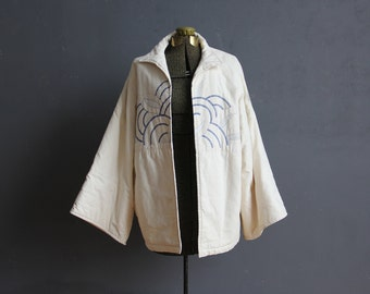 Embroidered Quilted Japanese Kimono Coat. Size Large
