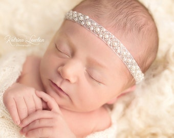 Pearl Hand Beaded Headband - perfect for newborns for photo shoots