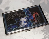 Metal Business Card Holder made with Upcycled Venom Comic Book Artwork, Spider-Man