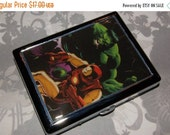 ON SALE Metal Wallet or Cigarette Case made from Upcycled Comic Book Artwork, Hulk, Iron Man