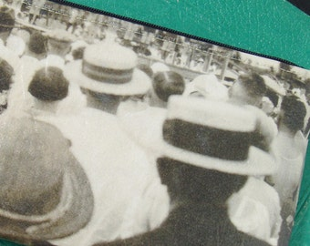 Cosmetic Bag with Vintage Photograph of a Beauty Pageant c. 1930