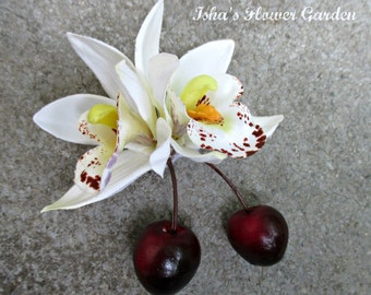 Small white orchid hair clip, realistic, orchid hair flower, tropical, cymbidium, double bloom, with cherries