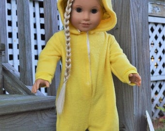 "Pikachu inspired costume onesie pajamas for 18"" or 15"" dolls"