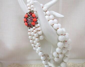 Vintage Marvela Necklace Rhinestone Clasp Hand Set Stones White Orange 3 Strand