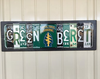 Green Beret License Plate Sign