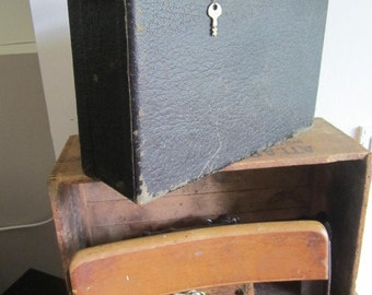 Small Distressed Black  Shabby Suitcase. w/ key. Shabby Rustic Home Decor.