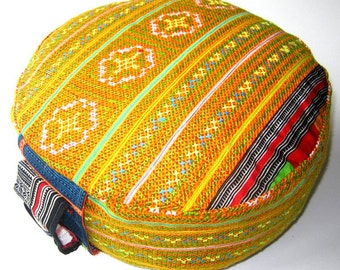 Yellow Orange Embroidered Unique Cushion - Cotton Zafu Pillow for Prenatal Quality Made in Germany