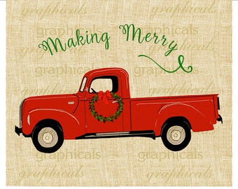 Red truck Wreath instant clip art printable digital download for iron on image transfer burlap tote pillow Decoupage Card Christmas 2276W