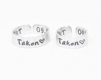 Customized promise rings for couples - Relationship rings - Boyfriend girlfriend rings - Taken rings initials rings date rings