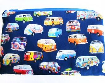 Cotton Pouch - Hippie Bus Pattern Makeup Bag - Handmade Bag - Toiletry Bag - Cosmetic Bag