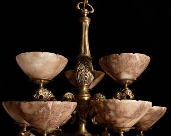 chandelier two-tier solid bronze & real alabaster lion head sculptures