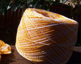 LAST AMOUNTS - Hand Dyed Size 10 Crochet Cotton - Sunshine Yellow - Small Project Size - 10, 25, 50, 75 or 100 Yards