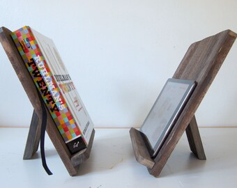 Rustic Cookbook Stand - Reclaimed Wood - Book Stand - Fifth Wedding Anniversary Wood Gift - Recipe Rest - iPad, Kindle or Tablet Stand