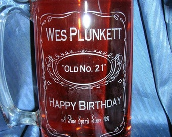 Etched jack daniels glass mug, birthday mug, beer mug, wedding glass, groomsman glass, custom glass mug, personalized glass mug