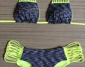 Neon Yellow Heather Grey Strappy Multi String Scrunch Butt Bikini