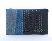 Denim Zip Pouch With Sashiko Stitching