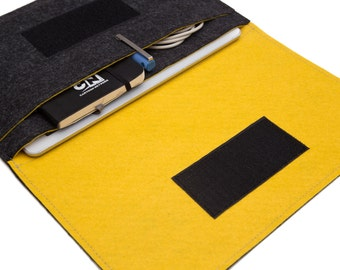 "9.7"" iPad Pro sleeve / iPad Pro 10.5"" Cover / 12.9"" iPad Pro Organizer / iPad Air Case - Dark Gray & Yellow"