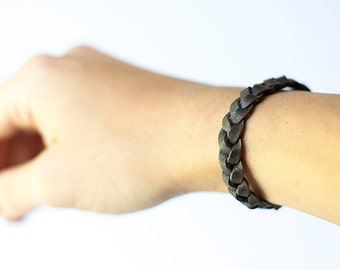 Braided Leather Bracelet / Campfire