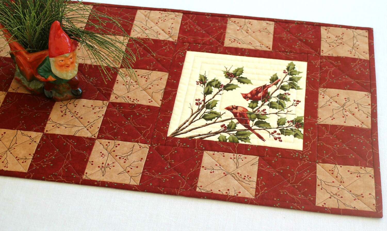 reserved cardinal table runner quilted red table runner. Black Bedroom Furniture Sets. Home Design Ideas